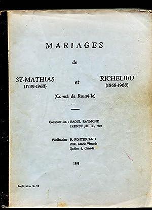 Marriages Mariages St-Mathias (1739-1968 et Richelieu (1868-1968): Raymond Raoul jetté