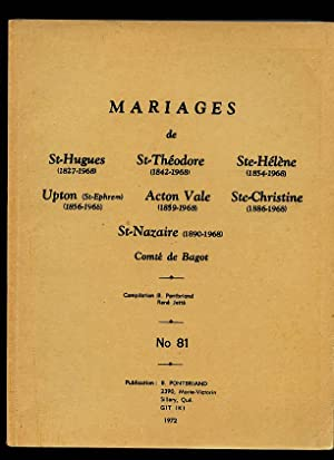 Bagot County RC Marriages Bagot St Hughes: Pontbriand Benoit &