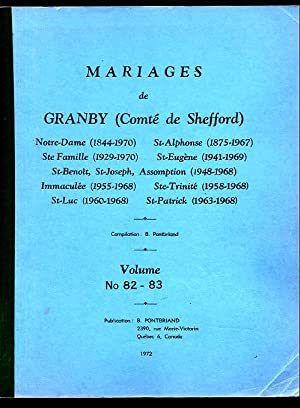 Granby (City) Marriages RC Marriages # 82-83: Pontbriand Benoit &