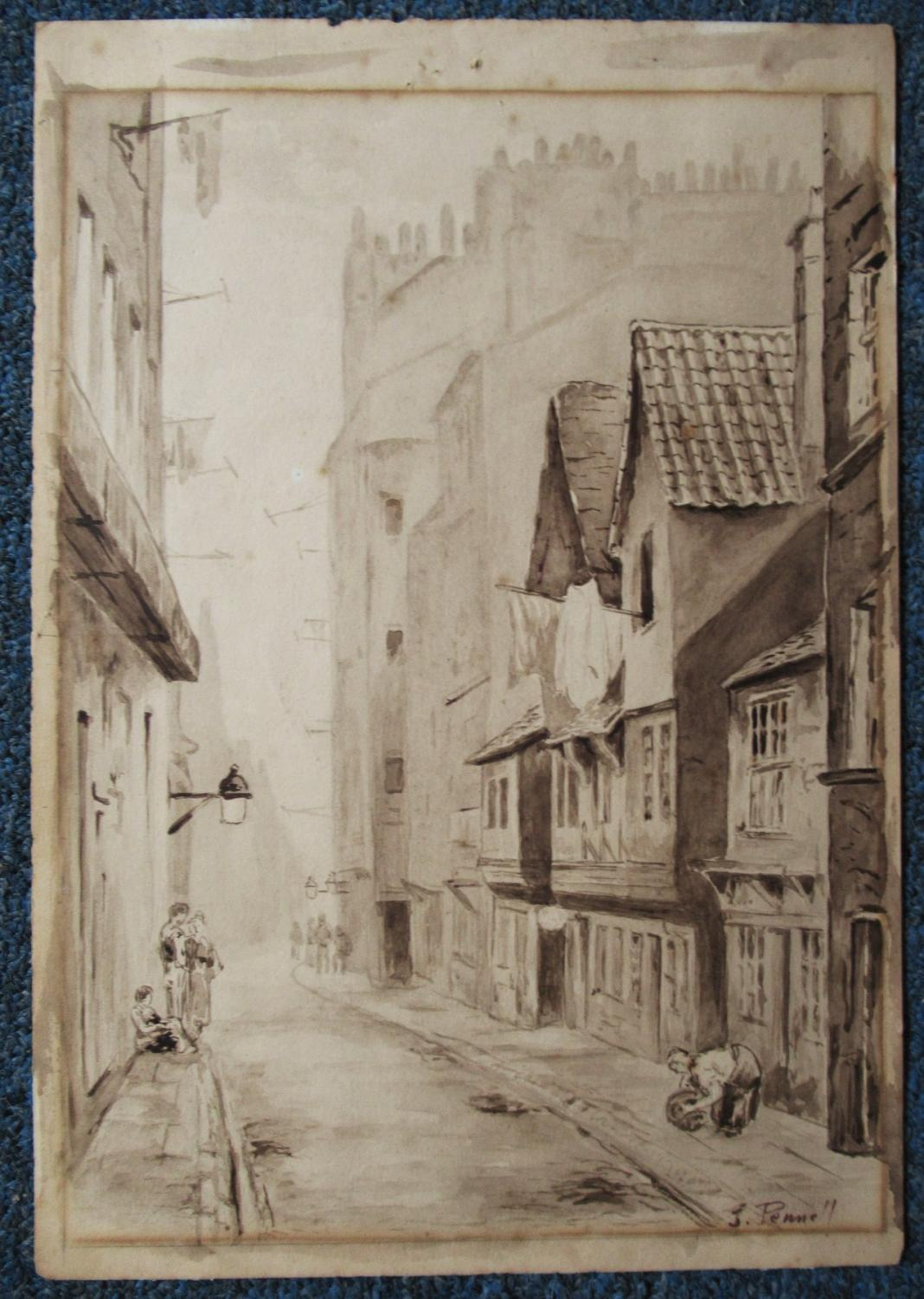 CITY_VIEW__SIGNED_ORIGINAL_WATERCOLOR_JOSEPH_PENNELL_Very_Good