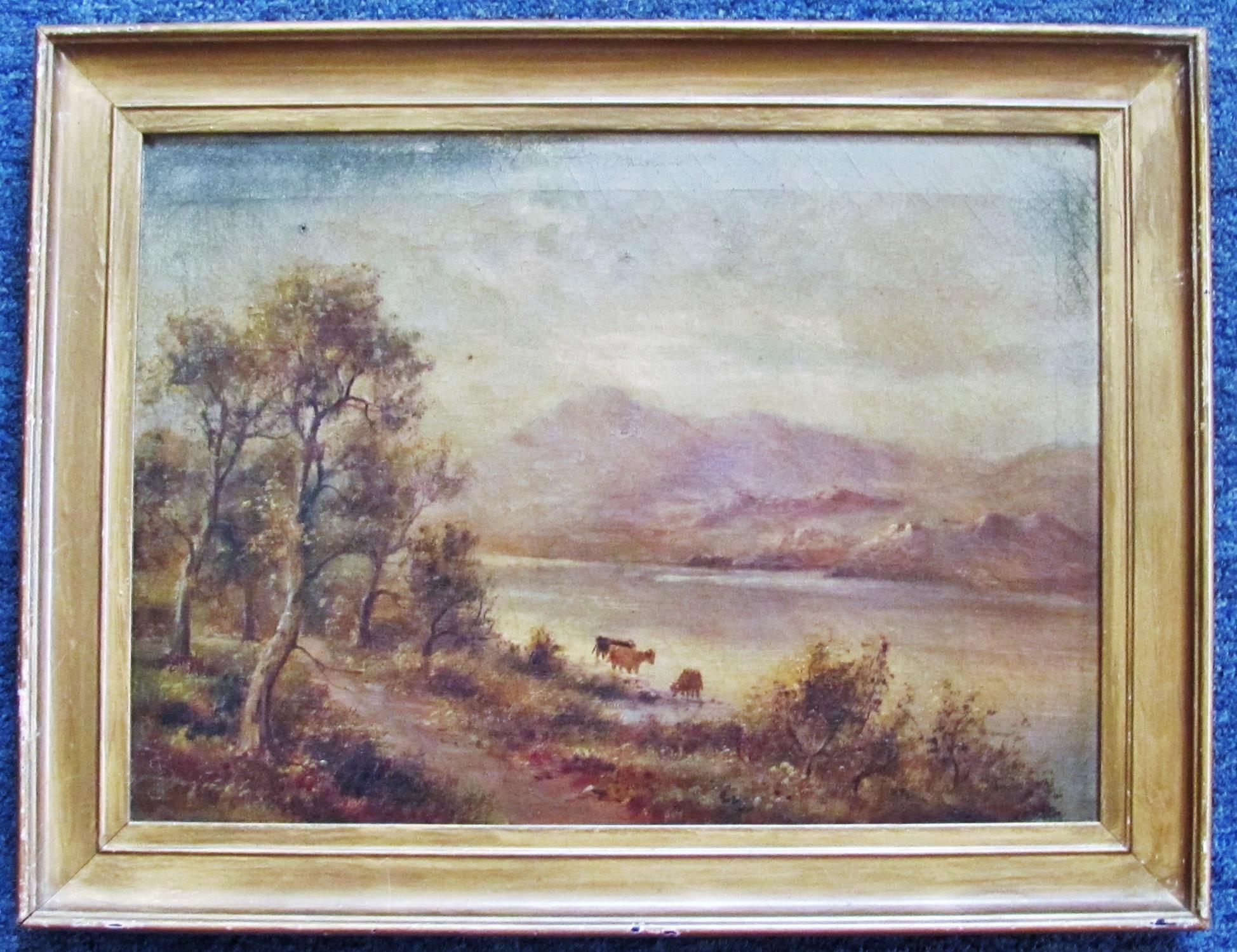 CATTLE_WATERING_ON_THE_CONWAY_RIVER__ORIGINAL_OIL_PAINTING_SIDNEY_YATES_JOHNSON_Very_Good