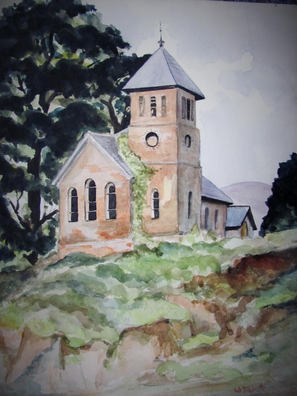 VILLAGE_CHURCH__ORIGINAL_WATERCOLOR_WALTER_JAMES_WEST_Near_Fine