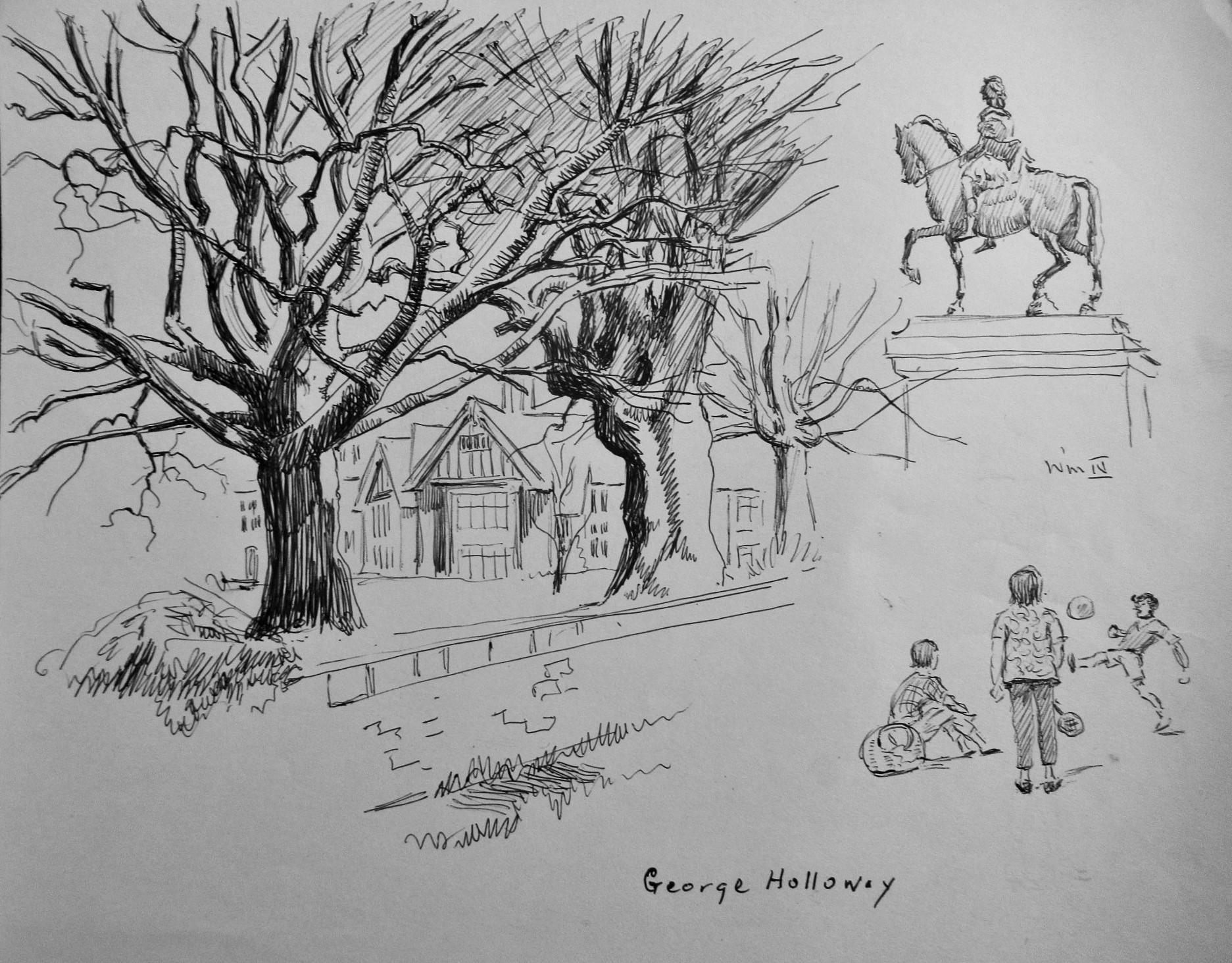 PLAYING_IN_THE_PARK__ORIGINAL_DRAWING_GEORGE_HOLLOWAY_Very_Good