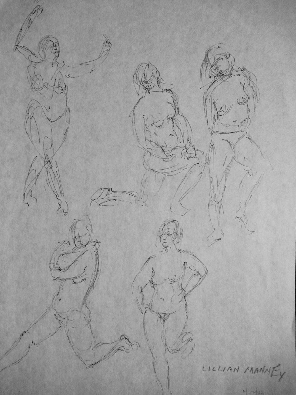 SKETCHES_OF_WOMEN__ORIGINAL_INK_DRAWING_LLIAN_MANNEY_Very_Good