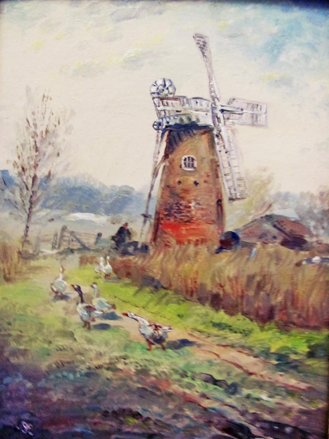 WIND_MILL_WITH_GEESE_-_FRAMED_ORIGINAL_OIL_PAINTING_JOHN_MACE_[Very_Good]