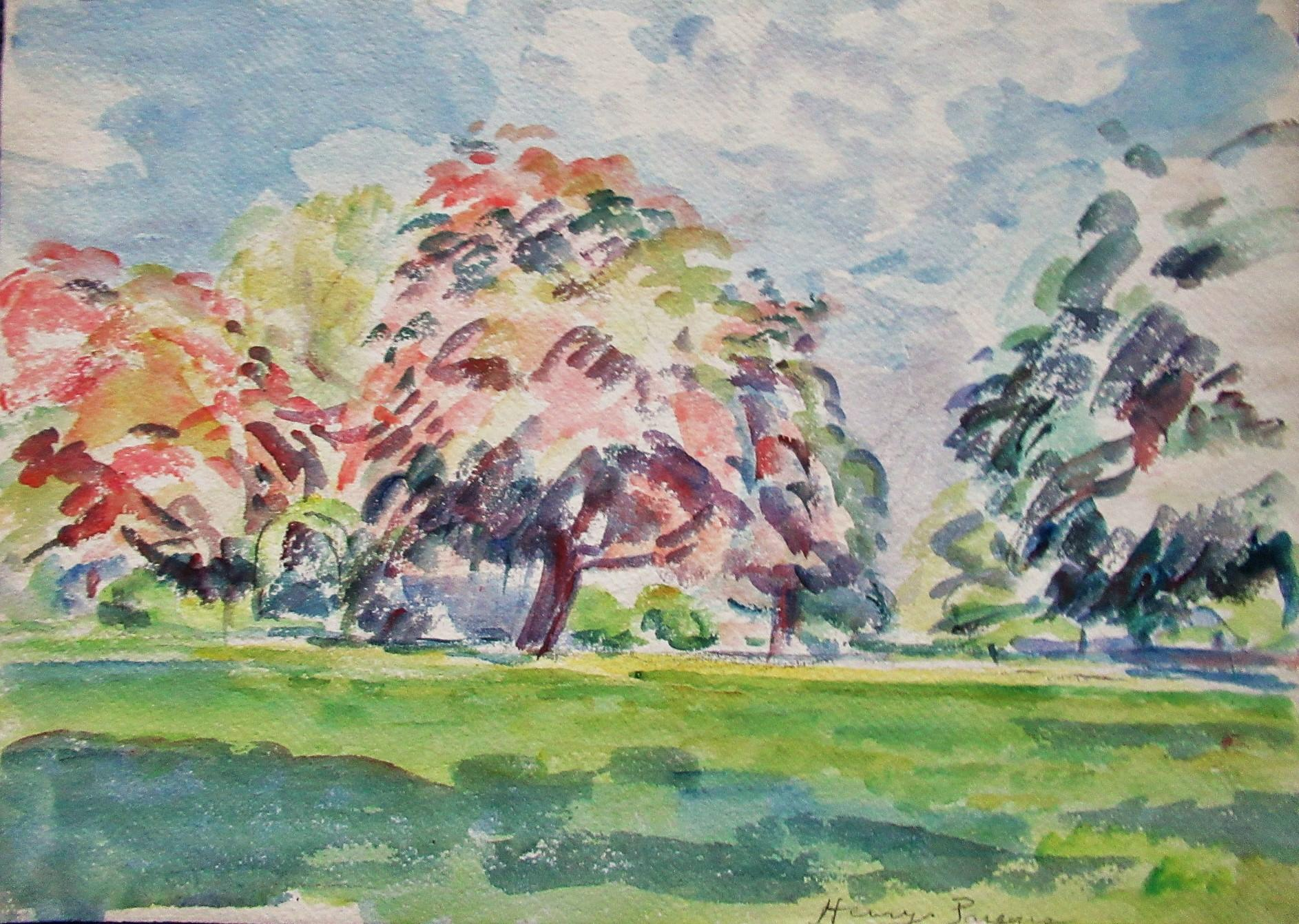 COLORFUL_DAY__ORIGINAL_WATERCOLOR_HENRY_PARSONS_Near_Fine
