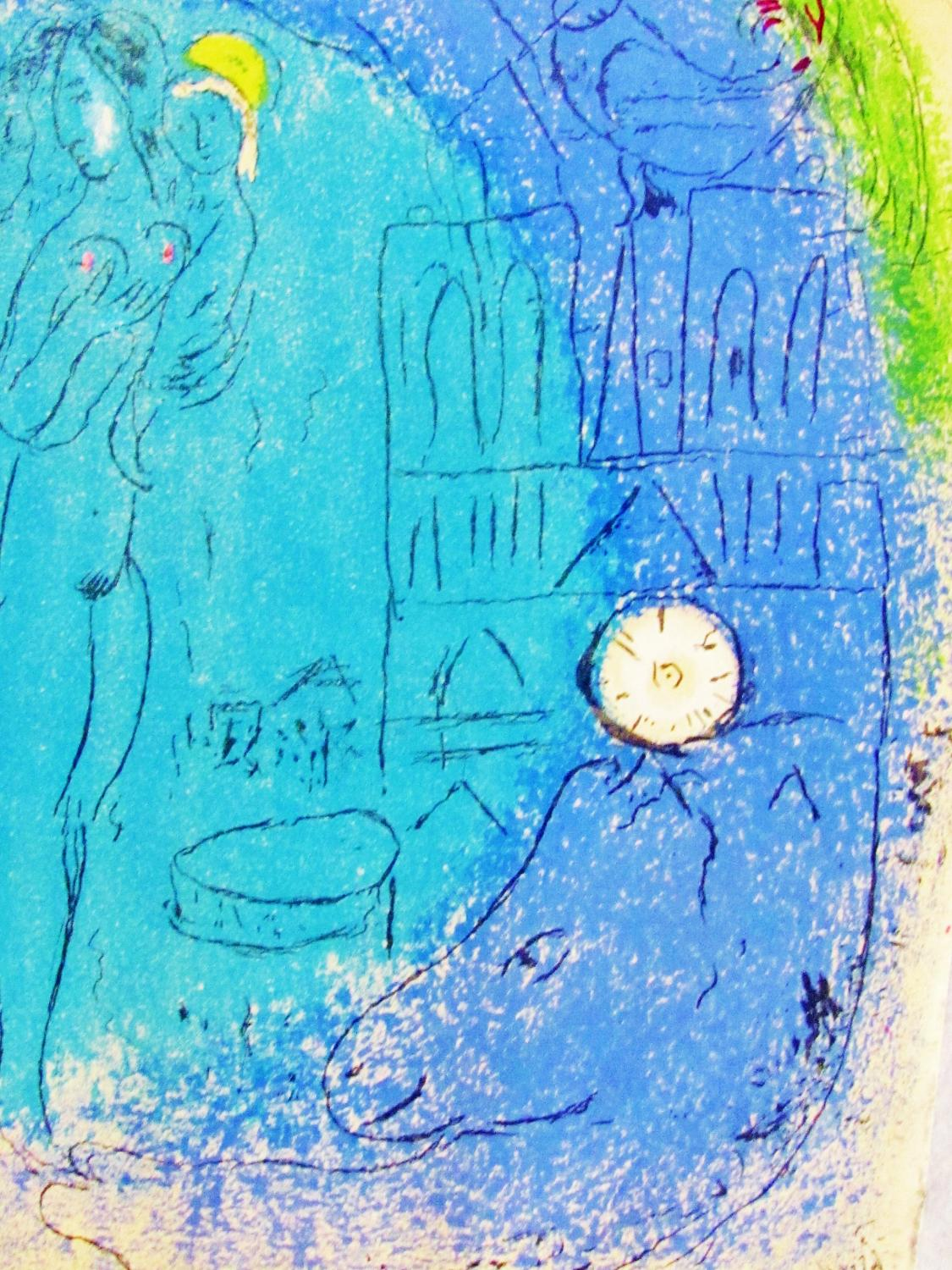 MOTHER_AND_CHILD_IN_FRONT_OF_NORTE_DAME__ORIGINAL_LITHOGRAPH_CHAGALL_Near_Fine