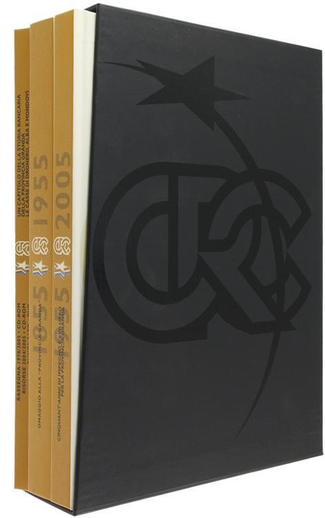UN CAPITOLO DELLA STORIA BANCARIA DELLA PROVINCIA GRANDA. Volume primo: Le casse di Dronero, Alba e Mondovì. Volume secondo: OMAGGIO ALLA  PROVINCIA (Codice LO/7000) Tre volumi in 4° 79(4) + 262 + 255 pp. Centinaia di illustrazioni a colori. Il primo volume contiene un CD-ROM e un DVD-ROM all'inter