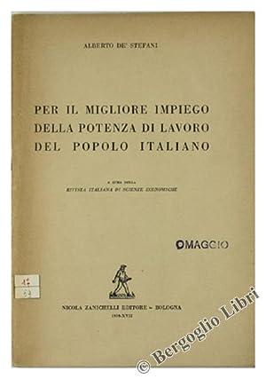 PER IL MIGLIORE IMPIEGO DELLA POTENZA DI: De' Stefani Alberto.