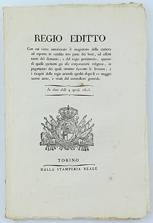 REGIO EDITTO Con cui viene autorizzato il