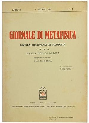 GIORNALE DI METAFISICA. Rivista Bimestrale di Filosofia.: Sciacca M.F. (direttore)