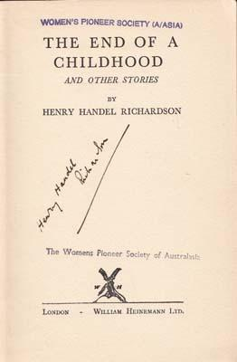 The End of a Childhood and other stories.: RICHARDSON Henry Handel.