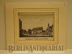 Marktplatz in Zwönitz gegen Nordost. Lithographie.: Zw�nitz.-
