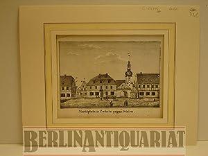 Marktplatz in Zwönitz gegen Süden. Lithographie.: Zwönitz.-