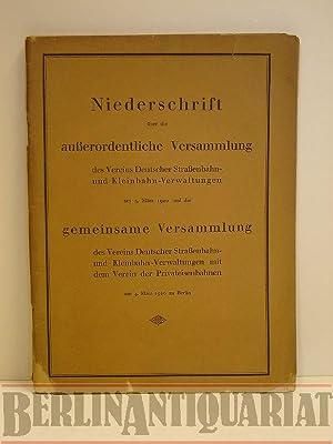 Niederschrift über die außerordentliche Versammlung des Vereins Deutscher Straß...