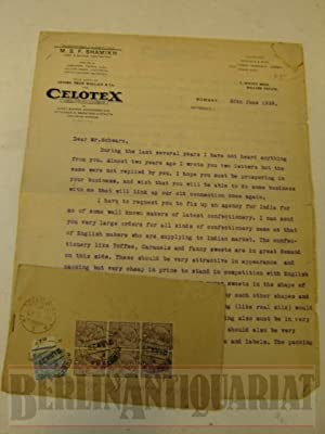 Alter Brief aus Bombay an Hrn. Schwarz, Chemnitz. Mit Original Umschlag und Briefmarken.