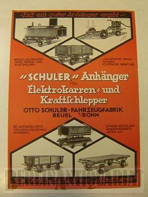 """Schuler"""" Anhänger für Elektrokarren- und Kraftschlepper. Werbung.: Otto Schuler:"""