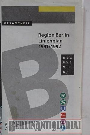 Gesamtnetz. Region Berlin. Linienplan 1991/1992. Stand Juni: Berliner Verkehrs-Betriebe (BVG)