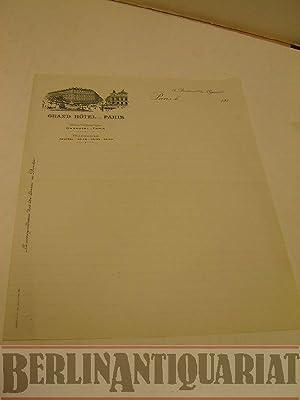 Briefpapier mit Briefkopf. Grand Hotel - Paris.: Grand Hotel:
