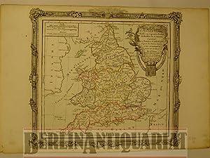 England. L'Angleterre. Divisée en 5 grande Parties, subdivisée en 52 Comt&eacute...