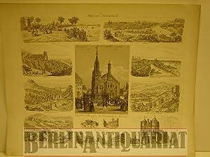 """Südwest-Deutschland. Blatt mit einem zentralen Stahlstich """"Der Schöne Brunnen u. die..."""
