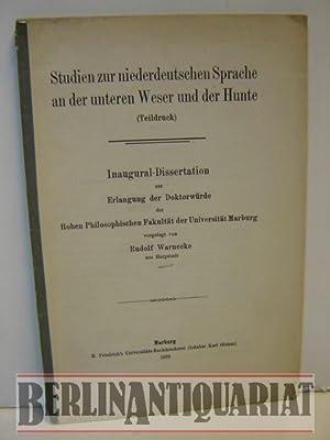 Studien zur niederdeutschen Sprache an der unteren Weser und der Hunte. Inaugural-Dissertation zur ...