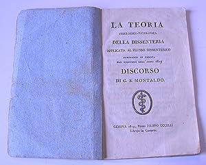 La teoria fisico-patologica della dissenteria applicata al: MONTALDO Giovanni Battista