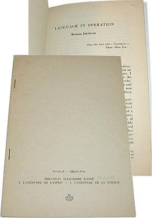 Language in Operation' An Essay. Lingua 21: Jakobson, Roman