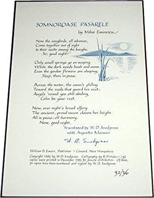 SOMNOROASE PASARELE. Translated by W.D. Snodgrass with Augustin Maissen