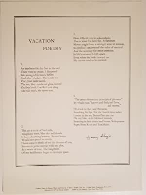 VACATION POETRY A Poem