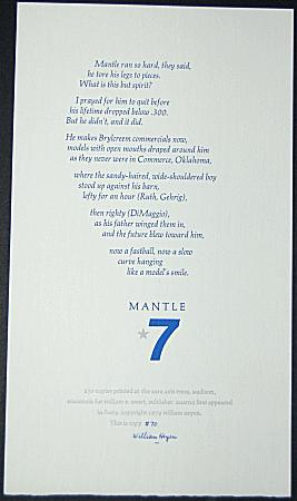 MANTLE A Poem