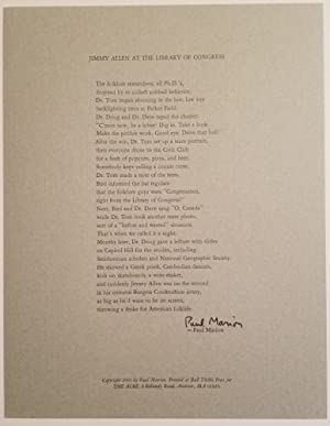 JIMMY ALLEN AT THE LIBRARY OF CONGRESS A Poem