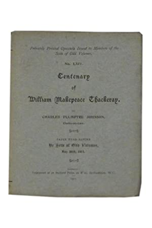Centenary of William Makepeace Thackeray: A Paper: Sette of Odd