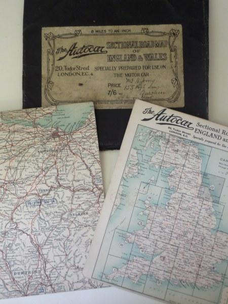 Driving Map Of England And Wales.The Autocar Sectional Road Map Of England