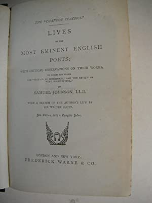 "Lives of the Most Eminent English Poets: The Chandos Classics"" Edition: Johnson, Samuel:"