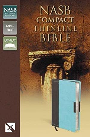 NASB, Thinline Bible, Compact, Leathersoft, Brown/Turquoise, Red: Zondervan