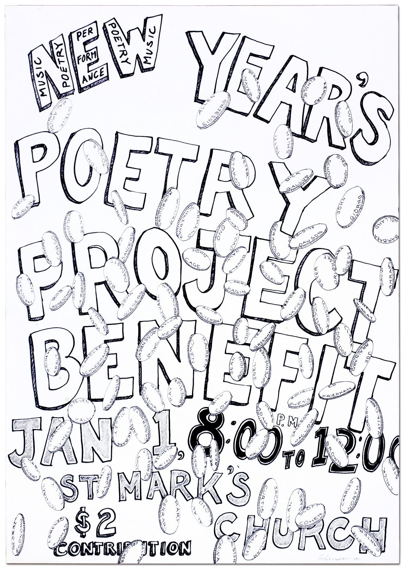 Broadside]: New Year\'s Poetry Project Benefit Jan 1, 8:00 to 12:00 ...