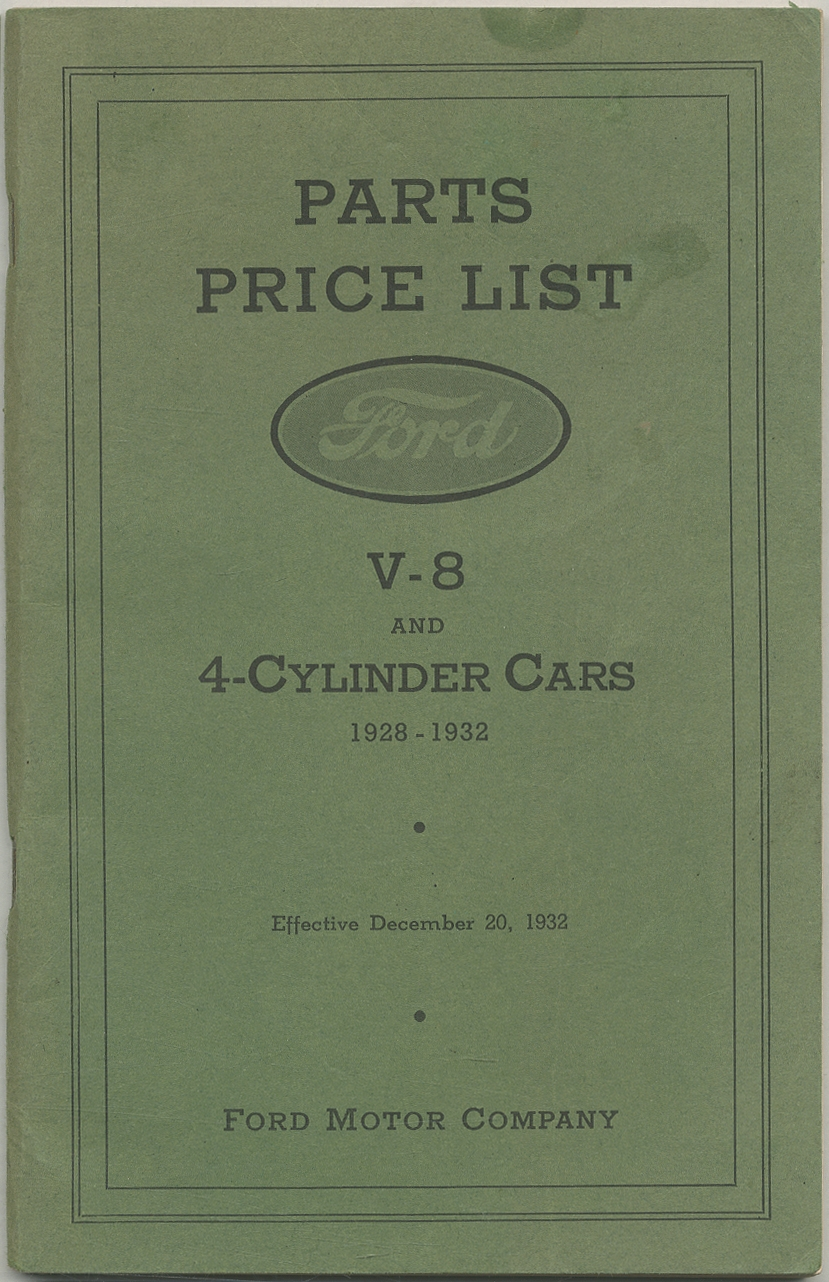Parts Price List Ford V-8 and 4-Cylinder