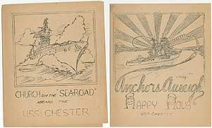 """[Two mimeographed programs]: Church on the """"""""Searoad"""""""" Aboard the U.S.S. Chester [and]: Anchors Aweigh Happy Hour U.S.S. Chester"""