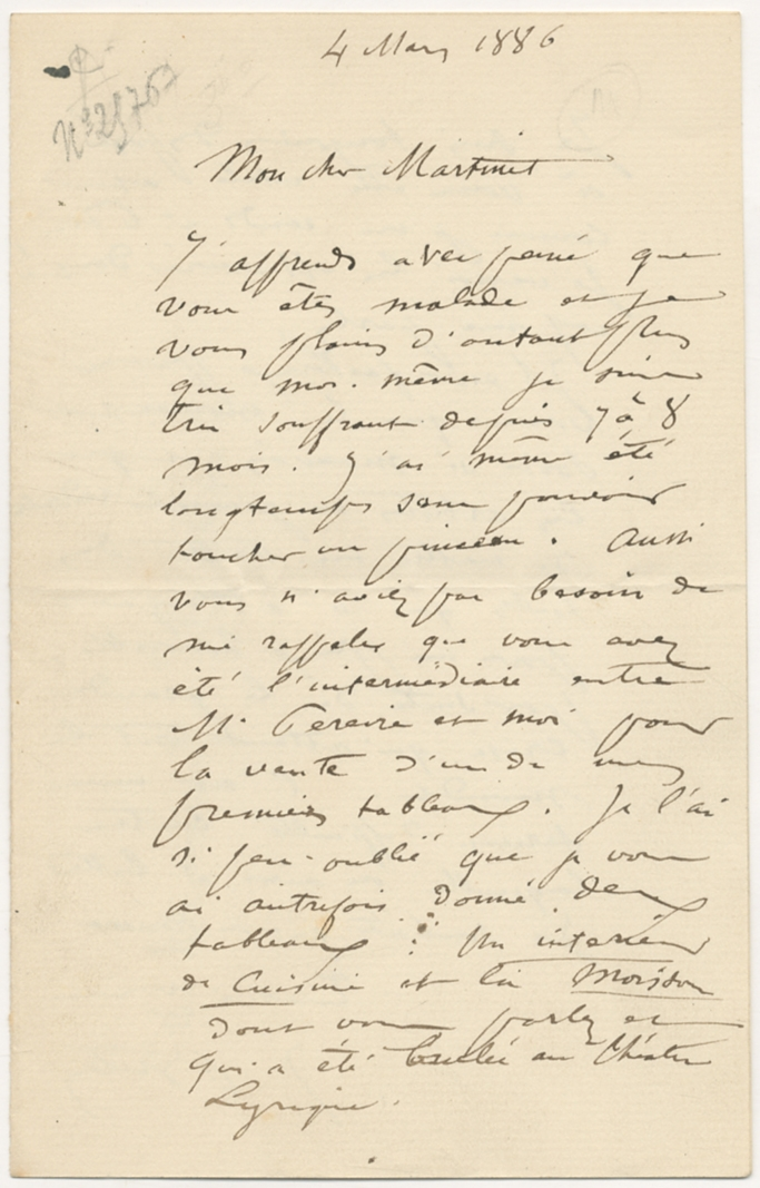 Autograph Letter Signed to M. Martinet BRETON, Jules Fine