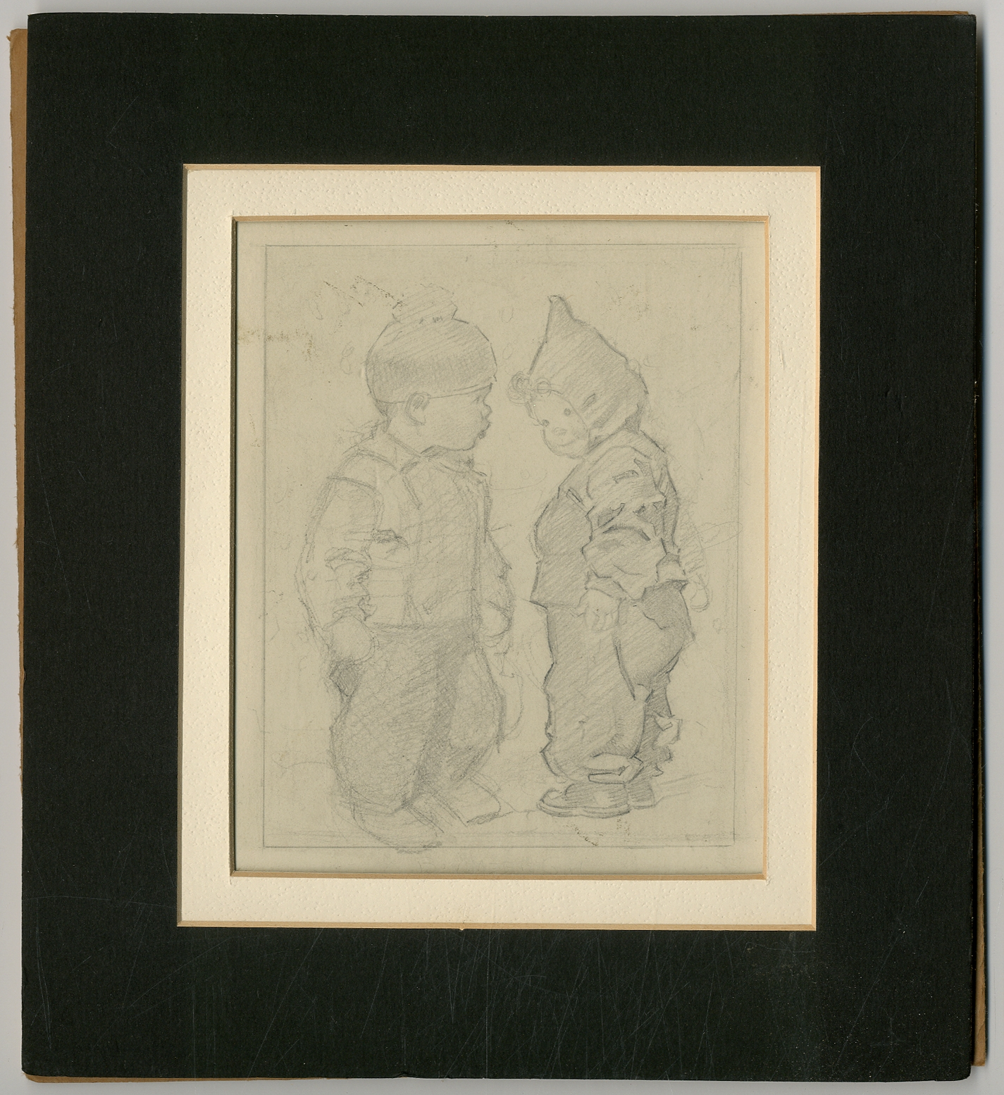 [Sketch]: Two Children in Winter Clothing HUNTER, Frances Tipton Fine Pencil sketch. Image is 4.5  x 5.75 . On artist board and matted. Unsigned. Fine. Hunter was a popular illustrator between the 1920s and 1950s special