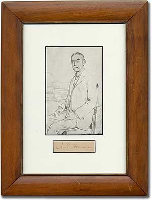 Framed portrait with Signature: HOUSMAN, A.E.