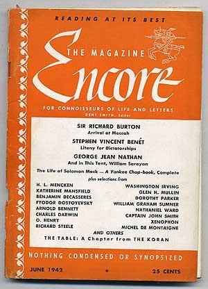Encore: Volume 1, Number 5, June, 1942: BURTON, Sir Richard, Charles Darwin, Washington Irving, ...