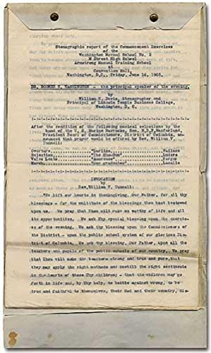 Stenographic Report of the Commencement Exercises of the Washington Normal School No. 2, M Street ...