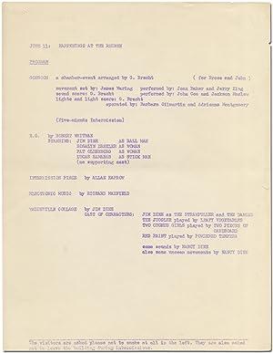 Program]: June 11: Happenings at the Reuben: KAPROW, Allan, George