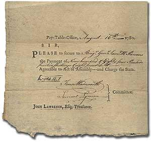 Pay Voucher for Revolutionary War Brigadier General Samuel Holton Parsons: PARSONS, Samuel H., ...