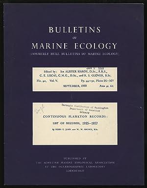 Bulletins of Marine Ecology Volume V No: HARDY, Alister et