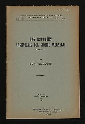 Las Especies Argentinas Del Genero Werneria (Compositae): CABRERA, Angel Lulio
