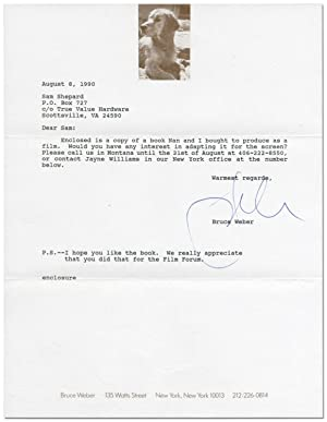 Typed Letter Signed to Sam Shepard