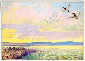 Original Signed Duck-Hunting Painting: Two Hunters Firing: HUNT, Lynn Bogue
